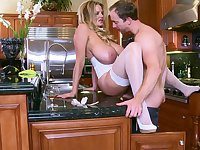Mature mom hard fucked in the kitchen by son's best friend
