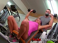 Samantha Ardente gets her shaved cunt pounded at the gym by a trainer