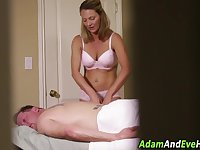 Milf masseuse cum covered