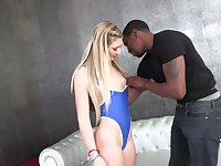 Rather too pale girlfriend April Aniston takes fat strong BBC into her anus
