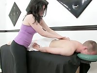 Lustful masseuse gives a massage and rides a cock after steamy cock riding session