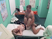 Sexy nurse Lady Blond adores sex and a blowjob in the hospital
