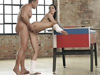 Naked ballet beauty bent over and pounded from behind