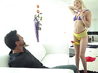 Charming blondie with blue eyes Elsa Jean gets her pussy rammed