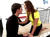 Russian brunette teen Violetta gets her shaved pink pussy pounded