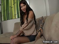 Playful leggy GF Ezmie Lee gives footjob and good handjob to her aroused stud