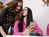 Ardent real lesbo Veronica Snezna has found a toy to pet her new GF passionately