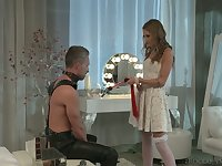 Horny svelte bride Tiffany Tatum is poked from behind darn great