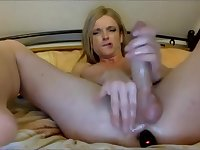 Sexy Blonde Shecock Jerking Off Hard
