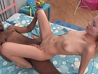 Skinny teen interracial porn video