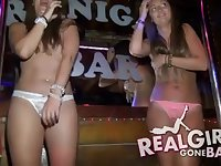 Bar Crawl Frolics - drunken college students partying and stripping on stage