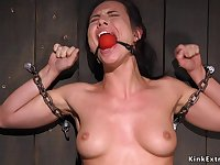 Beckbend bondage and torment for dark haired lady