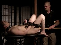 Submissive pale tattooed brunette teen tied up and abused with toys
