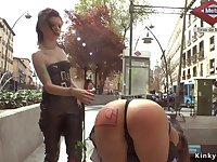 Naughty butt dark haired lady disgraced in Euro city