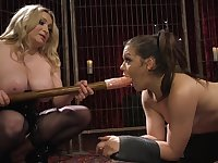 Caged BDSM lesbian action with two wild bitches