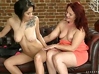 Granny uses her tongue on a cute college girl