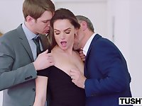 Two suited guys with gigantic dicks DPed cute babe Tori Black