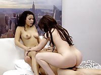 Hot babes sharing dick in mom and daughter passion