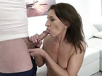 Dark haired whore with ugly small tits Viol is made to ride strong cock