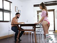 Submissive girlfriend Sofie Reyez gives a deepthroat blowjob under the table