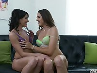 Two insatiable lesbians are eating each others wet and tasty pussies