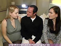 Ultra-Kinky, German black-haired is having a three way with a prego ash-blonde and her tatted paramour