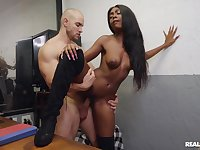 A mesmerizing display showing the skinny ebony fucking like a goddess