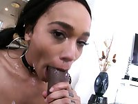 SWALLOWED Deepthroat fun with ebony babe Julie Kay