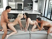 Awesome fourway pleasures for Kenna James and Jenna Ross