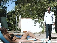 Amazing fucking with perfect tits Anissa Kate after sunbathing