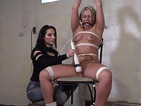 Kinky woman has tied up her husband's mistress and tortured her in the basement, until she came