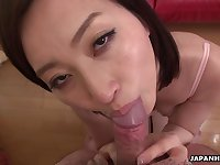 Japanese housewife, Ami Kikukawa sucks dick, un