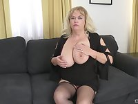 Mature slut with large tits pleasures her younger lover's cock