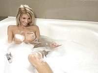 Sexy blonde Missy Luv takes a bubble bath and pleasures her pussy