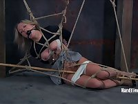 Hot ass blonde Claire Adams tied up and tortured by dirty Dia Zerva