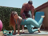 Fitness chick Kali Roses gets messy facial after crazy sex with her personal trainer