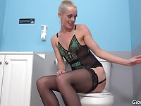 Bald whore with skinny forms, insane glory hole porn